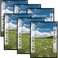 "Mainstays Basic Poster Frame 18"" x 24"" Black, Set of 6"