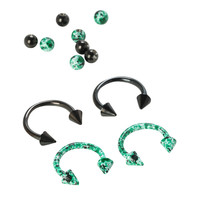 Steel Green And Black Splatter Circular Barbell 4 Pack