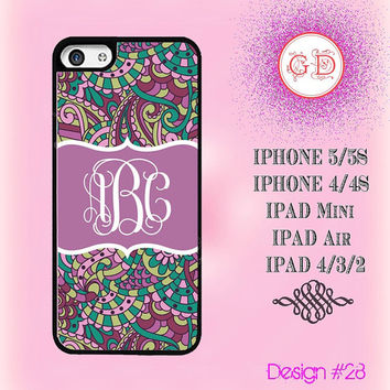 USA Custom Vintage Purple Floral Flower Pattern Monogram @ IPhone 5 / 5S Case , IPhone 4 / 4S Case , IPad Air , IPad Mini Smart Cover #28