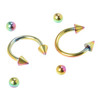 Steel Anodized Rainbow Circular Barbell 2 Pack