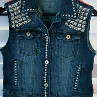 Denim studded hand made jean vest Size Small by VIntagedenimcorner