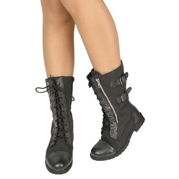 Women's Mid Calf Combat Canvas Lace Up and Zipper Casual Comfort Boots Black
