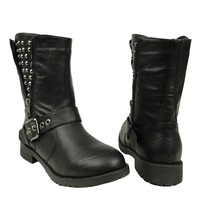Women's Casual Side Spiked Zipper Combat Comfort Ankle Boots US Size 6-10 Black