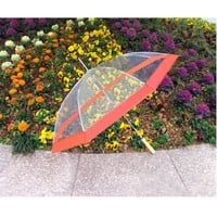 Clear Umbrella with Decorative Red Ring  [UMCLEAR48RD] - Umbrellas