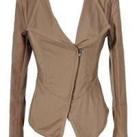 Delia Leatherette Trim Crossover Jacket in Taupe