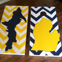 "Custom Hand painted Michigan Chevron  ""CornHole"" Board Sets - Only 140 w/bags"
