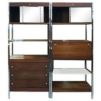 Midcentury modern bookshelf and bar