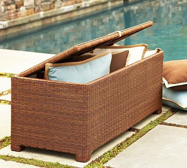 Palmetto All-Weather Wicker Storage Trunk - Honey | Pottery Barn