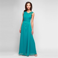 Alex Evenings Mesh Gown with Lace Shoulder at Von Maur