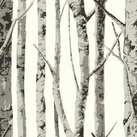 Birch Trees - grey trees on a white background [WAB-1008] : Designer Wallcoverings, Specialty Wallpaper for Home or Office