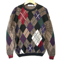 Big Diamonds Tacky Ugly Argyle Golf Sweater