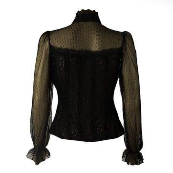 Black Gothic Frilly Lace Blouse
