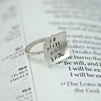 Square Ring Hand Stamped Be Still and Know by thebeadgirl