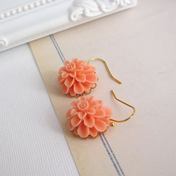Salmon Peach Pompom Chrysanthemum Drop Dangle Earrings. Nature Inspired Floral Ear Accessories