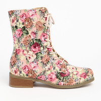 FLOWER LACED UP BOOTS