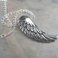 Silver Feather Necklace Bird Angel Wing
