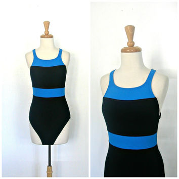 Vintage One Piece Swimwear / 80s swimsuit / 90s swimwear / maillot / Jag Swimsuit / halter swimsuit / bathing suit / medium