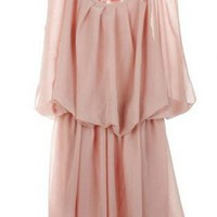 Pink Mini Dress - Bqueen Sleeveless Chiffon Dress BY257F | UsTrendy