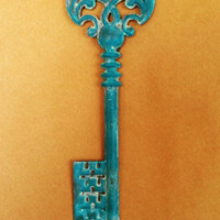 Turquoise Decorative Wall Hook Metal Key Painted and by nakhome