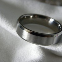 Titanium Ring Wedding Band Narrow Beveled Edges by titaniumknights