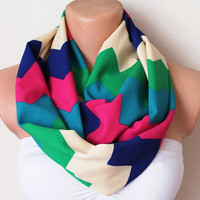 Multicolor Zigzag Jersey Loop Infinity Circle Scarf by fairstore