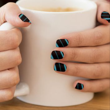 """Blue on Black 02"" Fractal Nail Art"