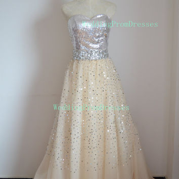 Shinny Sweetheart Ball Gown Sequins Floor Length Prom Dresses/ Chic Prom Dresses/ Prom Dress 2014/Party Dresses