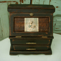 Shabby Jewelry Box Religious Mary and Jesus by honeystreasures