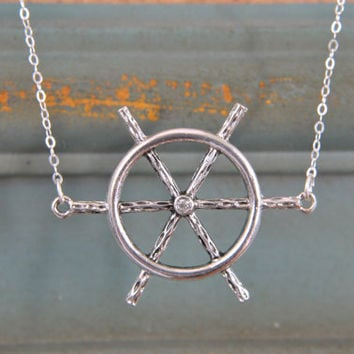 $23.00 Swarovski Nautical NecklaceSailor Sea Ship Wheel by GlassPoppies