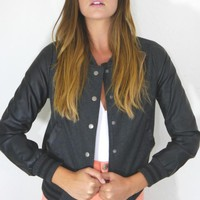 Black Wool Leather Sleeved Jacket