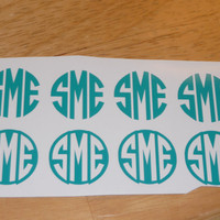 Set of 4 Vinyl Monogram Decals  1 inch by GSMonograms on Etsy