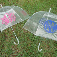 Personalized Monogram Clear Dome Umbrella by paisleynpolkadots