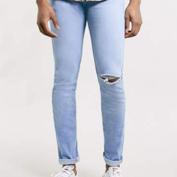 BLUE BLEACH RIPPED STRETCH SKINNY JEANS