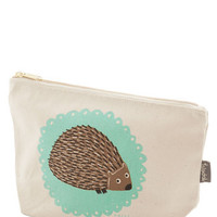 ModCloth Quirky The Crowd Goes Wilderness Makeup Bag in Hedgehog