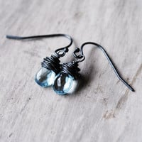 Sky Blue Earrings Oxidized Sterling Silver Topaz by starletta