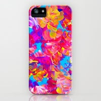 FLORAL FANTASY Bold Abstract Flowers Acrylic Textural Painting Neon Pink Turquoise Feminine Art iPhone & iPod Case by EbiEmporium