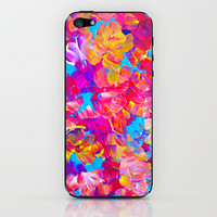 FLORAL FANTASY Bold Abstract Flowers Acrylic Textural Painting Neon Pink Turquoise Feminine Art iPhone & iPod Skin by EbiEmporium