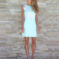 MINT + WHITE LEATHER LACE DRESS