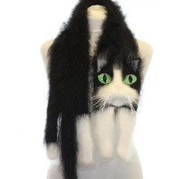 Handmade Fuzzy Cat Scarf - Black & White Cat with Green Eyes