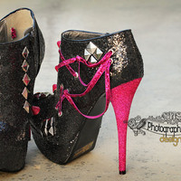 Custom Spike Heels Black and Pink or Fuchsia by PhotographicMVP