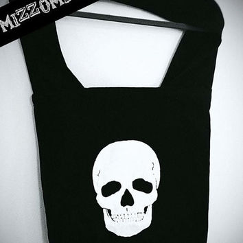 SKULL purse over the shoulder large Sling 100% Cotton bag, carry on, grunge, rocker, rock, goth