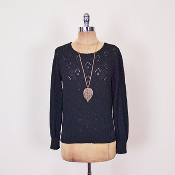 Black Crochet Sweater Sheer Crochet Jumper Pointelle Open Knit Sweater Pointelle Sweater Black Sweater 70s Sweater Hippie Sweater M Medium