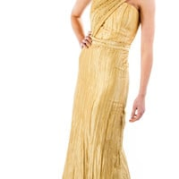 Gold Hand Beaded Sleeveless One Shoulder Evening by OneKindCouture