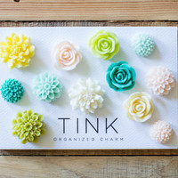 Pretty Decorative Flower Fridge & Locker Magnets - Set of 12 - St. Tropez: Yellow/Teal/Green/Neutrals Roses, Dahlias, Peonies