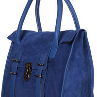 Blue Clip Lock Leather Satchel