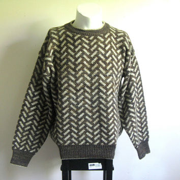Vintage Pierre Cardin Sweater 1980s Brown Chevron Mens Jumper Lrg