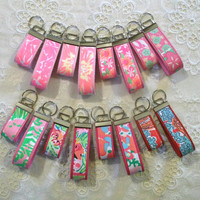 Preppy Lilly Pulitzer Fabric Key Chain Keyring in PINK Prints and 3 Sizes