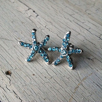 Blue Rhinestone Starfish Earrings - Starfish Stud Earrings - Rhinestone Stud Earrings, Starfish Post Earrings