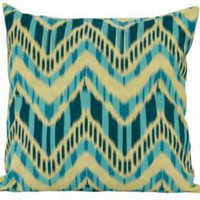 One Kings Lane - Worldly Goods - 18x18 Reversible Pillow, Teal/Green