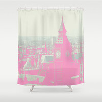 London In The Pink Shower Curtain